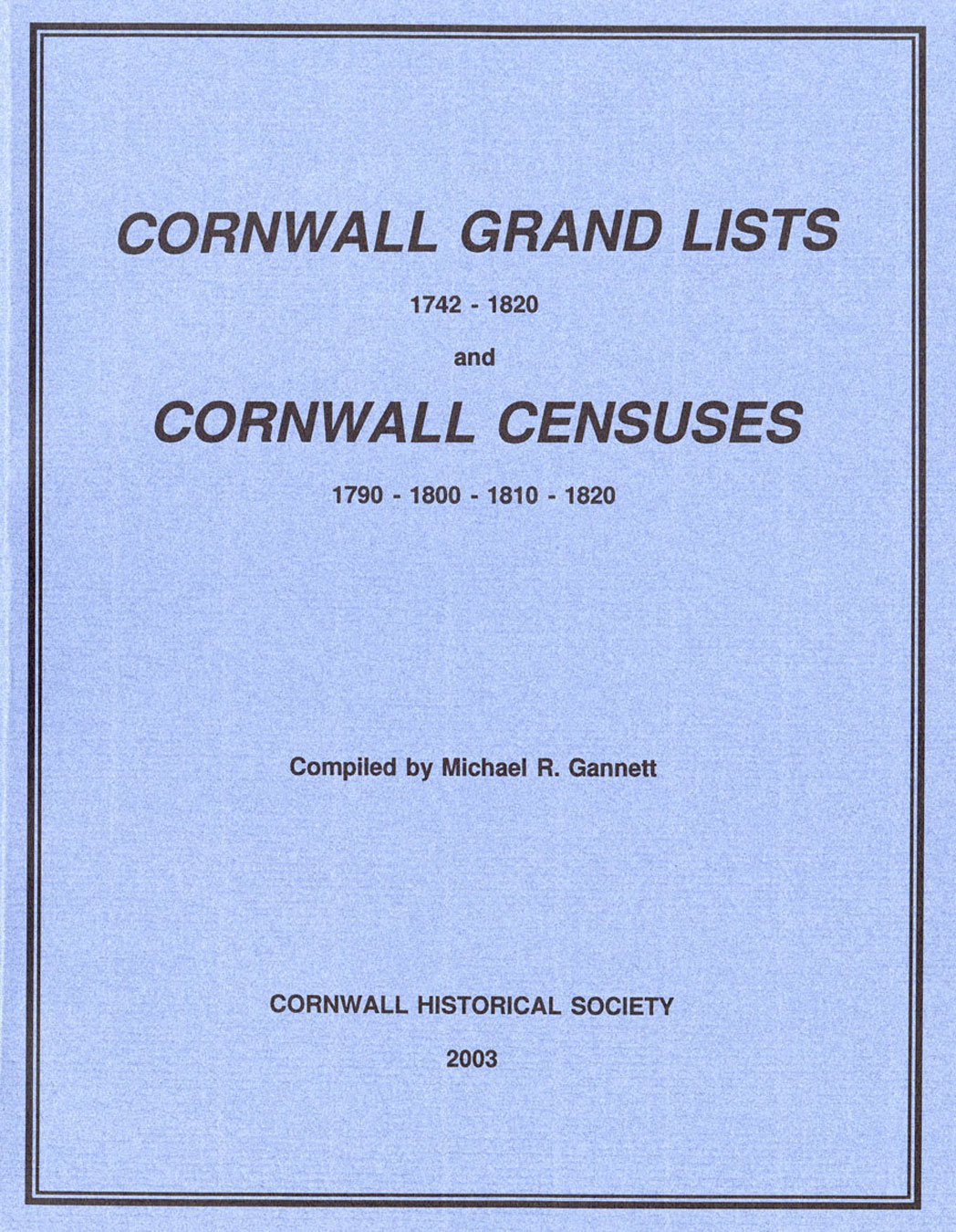 Cornwall Grand Lists Censuses