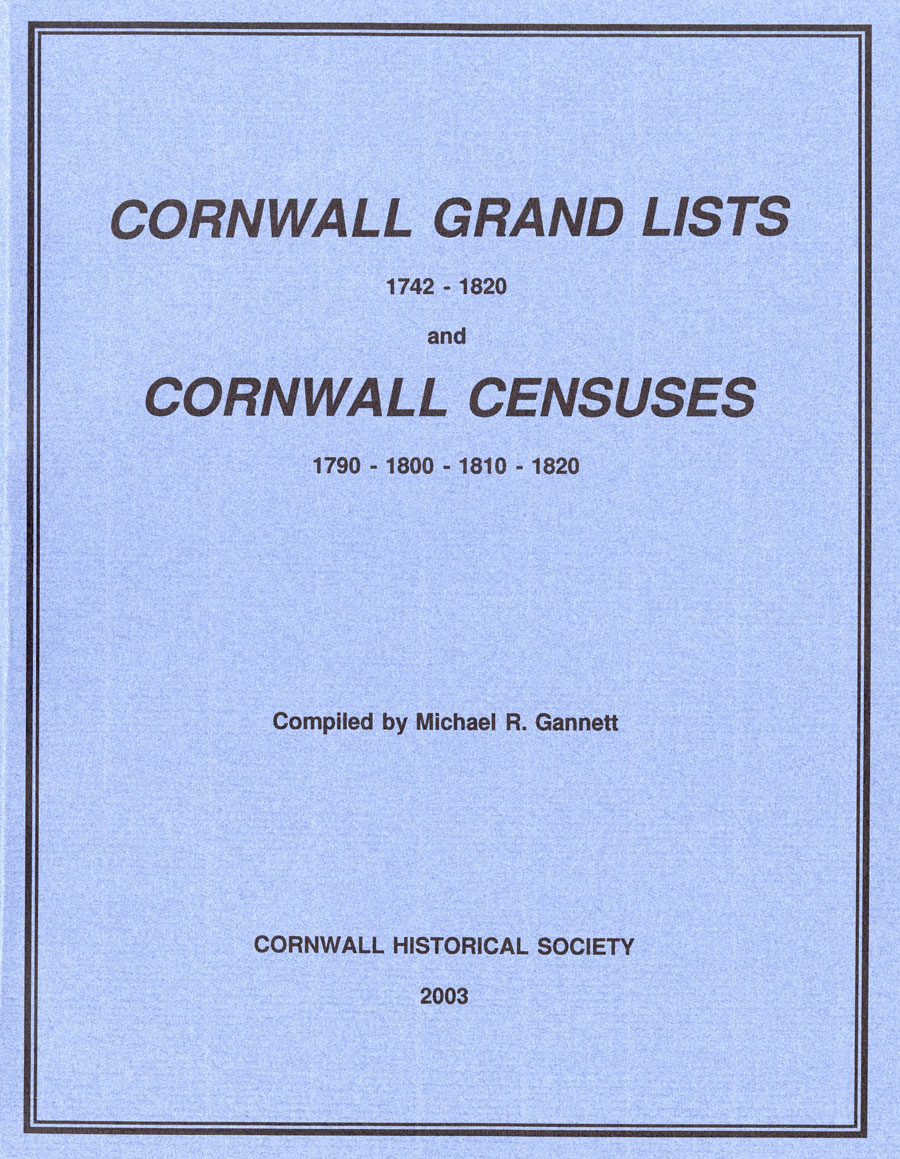 Cornwall Grand Lists 1742 – 1820 and Cornwall Censuses 1790 – 1800 – 1810 – 1820